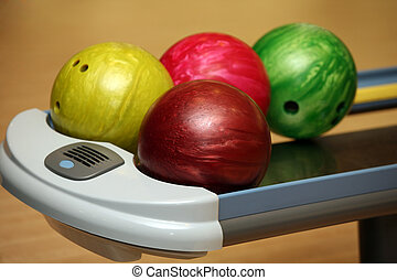 Bowling balls - Four color bowling balls of different color