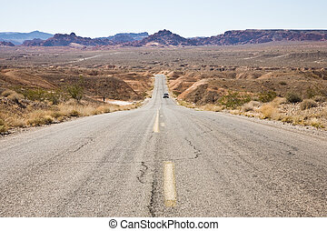 Road in Valley of fire - Road through desert zone in Valley...