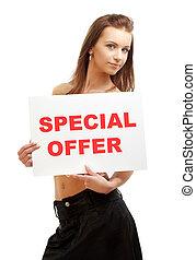 lovely girl holding special offer board - lovely girl...
