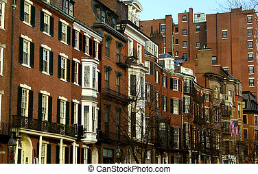 bostons beacon street - View of Beacon street in Boston...