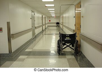 Hospital Hallway - Wheelchair in hospital hallway.