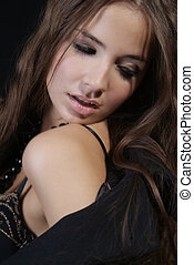 erotic woman - an attractive woman in the coat with bra and...