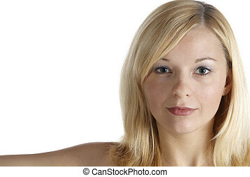 young woman - portrait of a pretty young woman with blond...