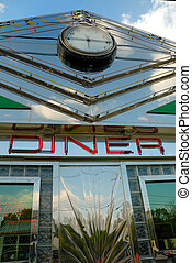 Retro diner - Fifties retro diner sign on chrome frontage...
