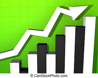 statistic - 3d rendered illustration of a rising statistic
