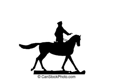 silhouette of horseman - silhouette of military man ,...