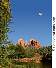 Cathedral Rocks with Moon rising - View of Cathedral Rocks...