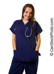 Friendly young nurse - Pretty young woman healthcare worker...