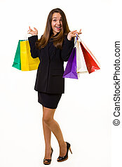 Business shopper - Full body of an attractive young brunette...