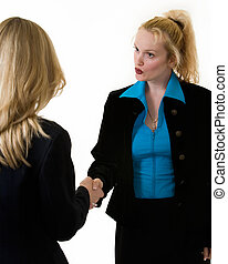 Business greeting - Two attractive blond business women...