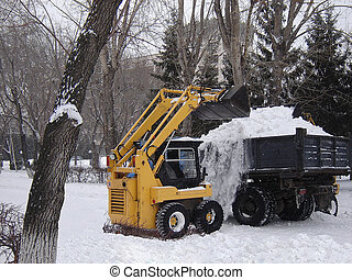 removal of snow - Cleaning of a snow with use of...