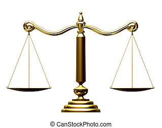 libra - 3d rendered illustration of a golden scale