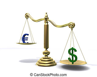 euro/dollar scale - 3d rendered illustration of a golden...