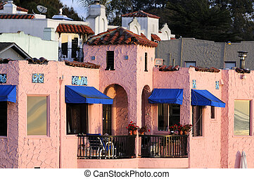 colorful home on the esplanade in Capitola, California -...