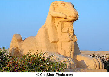 Ram headed sphinx - Sculpture of Criosphinx - body of lion...