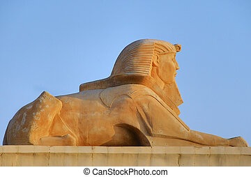 sphinx - Androsphinx sculpture at Soma Bay, Egypt.