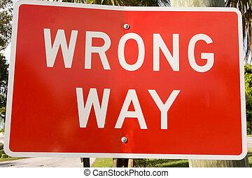 wrong way sign - red road sign warning wrong way