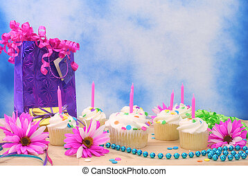 Birthday Cupcakes - Bithday Cupcakes with Ribbons and Beads...