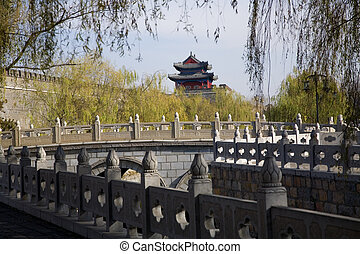 City Wall Qufu China - Tower on City Wall, Qufu, Shandong...