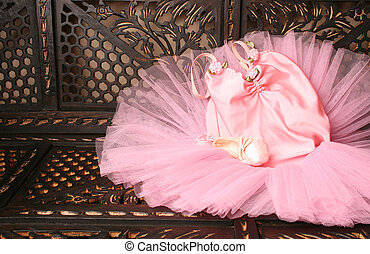 Ballet Costume - Pink Ballet costume and miniature shoe on a...