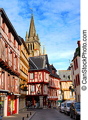 Medieval Vannes, France - Street with colorful houses in a...