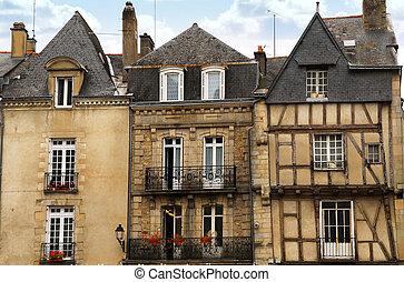 Medieval Vannes, France - Row of medieval houses in Vannes,...