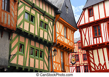 Medieval Vannes, France - Colorful medieval houses in...