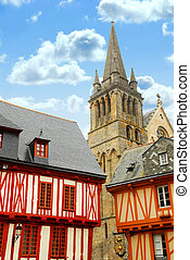 Medieval Vannes, France - Colorful medieval houses and...