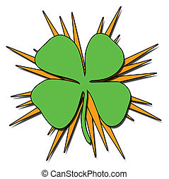 Sacred Shamrock - A shamrock illustration with orange...