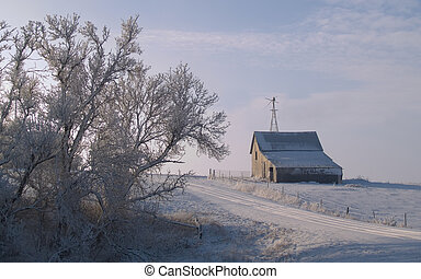 Rural Winter Morning - An old barn on a beautiful December...