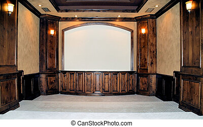 home theater - beautiful home theater with big screen and...