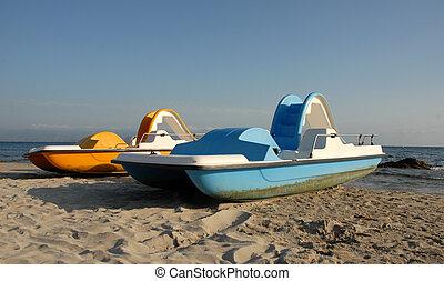 deux, pedalos, plage