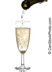Champagne dynamics - A photo of bubbly being poured into...