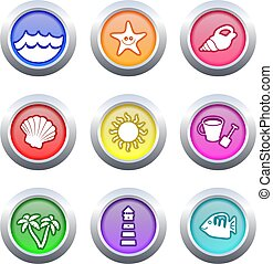 beach buttons - collection of very colourful beach buttons...