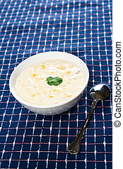 Creamy corn soup - A shot of delicious creamy corn soup on a...