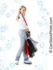 shopping teenage girl with snowflakes 3 - teenage girl with...