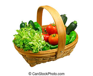 Fresh vegetables basket clipping path included - Basket full...