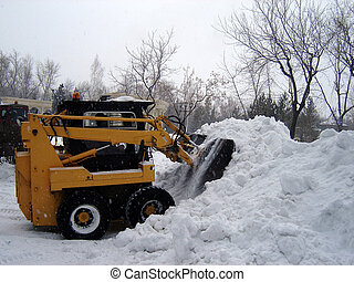 snow removal operation after strong snowfall in february