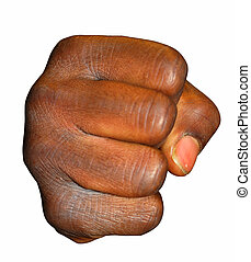 Black fist isolated on white background
