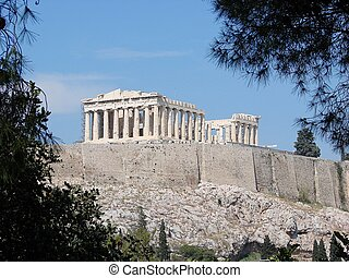 The Parthenon - A view of the Acropolis from the Philopappou...