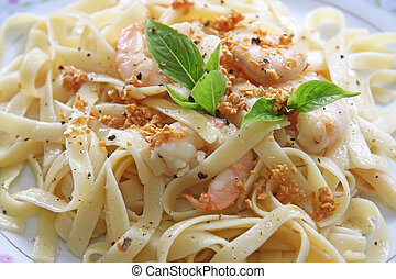 Pasta ala oglio with shrimp Italian cuisine