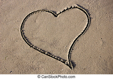 Sand Heart - Drawed heart in the sand on a beach
