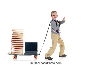 Internet library boy surfing - Eight year young boy speed...