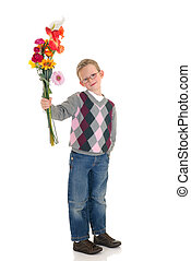 young boy, valentine love - young boy casual dressed,...