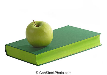 Green Book - Green book with green apple - isolated on white