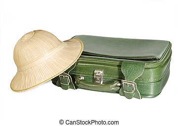 Freizeit - Leisure - Old suitcase and safari hat - isolated...