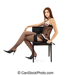 black lace brunette in chair with mask over white