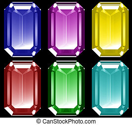 3d Gems - A series of 3d gems isolated on a black...