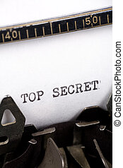 Top Secret - Typewriter close up shot, Concept of Top Secret