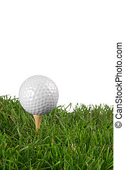 Golf ball close-up from the ground level with white...